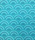 Snuggle Flannel Fabric -Dotted Scallops Aqua Sky