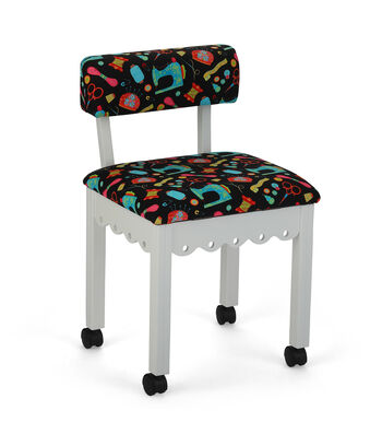 Arrow Wood Sewing and Craft Chair with Gingerbread Design, Under seat Storage, and Print Upholstery Fabric