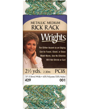 Wrights Medium Metallic Rick Rack-1/2''W x 2-1/2yds