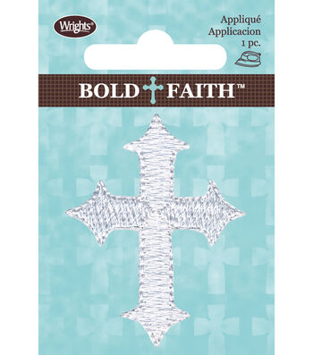 Wrights Iron-On Applique-White Gothic Cross