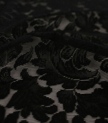 Knit Lace Fabric 50''-Black Leafy
