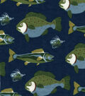 Snuggle Flannel Fabric -Fish And Lures Navy