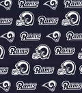 LA Rams Cotton Fabric -Logo on Navy
