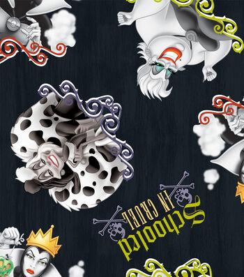 "Disney Villains Halloween Cotton Fabric 43""-Schooled In Cruel"