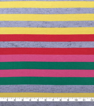 Doodles Cotton Fabric-Pink, Green & Yellow Wide Stripes