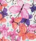 Anti-Pill Fleece Fabric 59\u0022-Pink Orange Watercolor Butterflies
