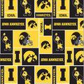 University of Iowa Hawkeyes Fleece Fabric -Block
