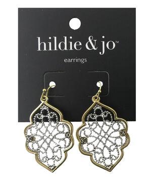 hildie & jo Cutout Antique Gold & Silver Earrings