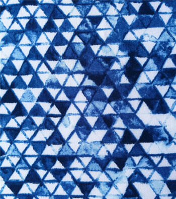 "Stretch Chiffon Fabric 57""-Navy & White Triangles"