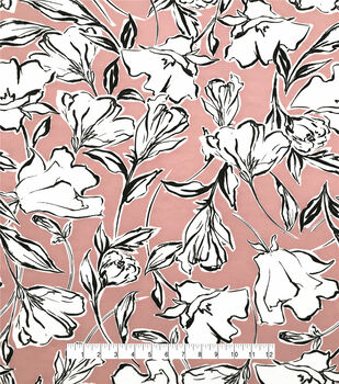 Silky Stretch Chiffon Fabric-Peach Sketchy Floral