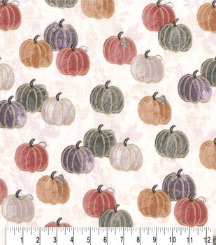 Harvest Cotton Fabric-Watercolor Pumpkins
