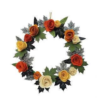 Simply Autumn Felt Floral & Leaf Wreath