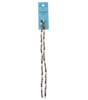 hildie & jo Strung Bead Czech Wood 2 Strand Round 4mm-Multi Color