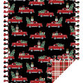 No Sew Fleece Throw-Red Truck Christmas Tree