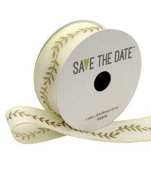 """Save the Date 1.5"""" x 15ft Ribbon-Gold Fern On Ivory"""