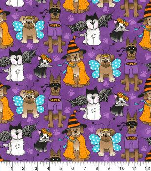 Halloween Cotton Fabric-Dog Costume Party Purple