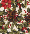 Christmas Cotton Fabric -Holly and Pine