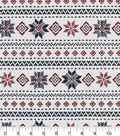 Snuggle Flannel Fabric 42\u0027\u0027-Fair Isle Stripes on White