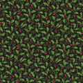 Christmas Cotton Fabric-Christmas Holly Scroll Glitter