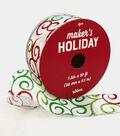 Maker\u0027s Holiday Christmas Ribbon 1.5\u0027\u0027x30\u0027-Multi Glitter Swirls on White