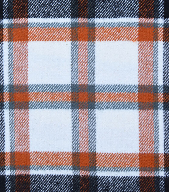 Plaiditudes Brushed Cotton Fabric Ivory, Black & Rust Tricolor Plaid, , hi-res, image 1
