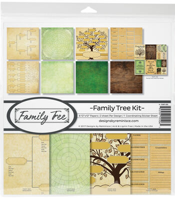 "Reminisce Collection Kit 12""X12""-Family Tree, 8 Papers & Stickers"