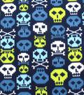 Blizzard Fleece Fabric 59\u0022-Lime Digi Skulls