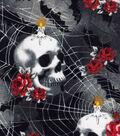 Halloween Cotton Fabric -Rose Skulls