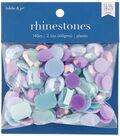 hildie & jo 140 pk Assorted Plastic Flat Back Rhinestones-Blue & Purple