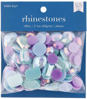 hildie & jo 140 pk Assorted Plastic Flat Back Rhinestones-Blue & Purple, , hi-res