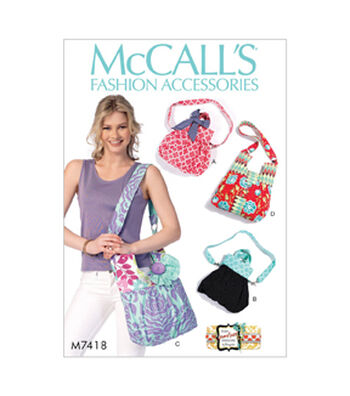 McCall's Pattern M7418 Shoulder Bags with Decorative Accents