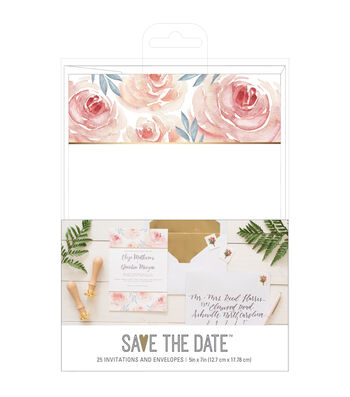 American Crafts Floral Wedding Invites with Envelopes