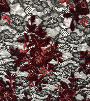 "Holiday Shine Velvet Embroidered Lace Fabric 55""-Black & Burgundy"