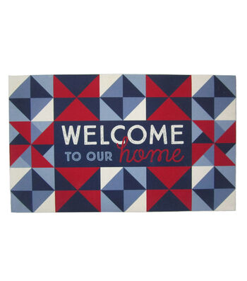 Americana Patriotic Rubber Doormat-Quilted & Welcome To Our Home