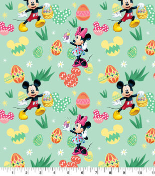 Disney Easter Mickey & Minnie Cotton Fabric-Eggs Hunt
