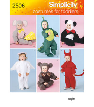 Simplicity Pattern 2506A Toddler Costumes-Size 1/2-1-2-3