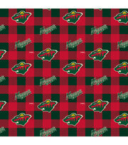 Minnesota Wild Fleece Fabric-Buffalo Plaid, , hi-res