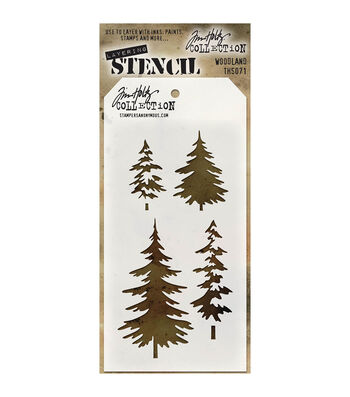 Stampers Anonymous Tim Holtz 4.13''x8.5'' Layered Stencil-Woodland