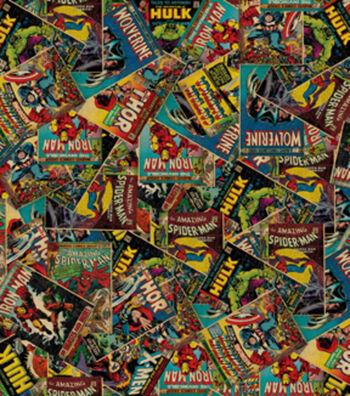 Marvel Comics Cotton Fabric 44''-Retro Comic