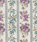 Vintage Cotton Fabric 43\u0022-Purple Floral Stripe