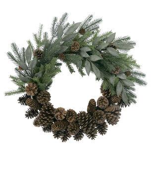 Handmade Holiday Christmas Homestead Pinecone & Pine Wreath