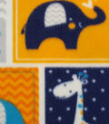 Nursery Fleece Fabric -Navy Dream Big Patch