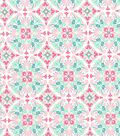Quilter\u0027s Showcase Cotton Fabric -Pink & Teal Medallion