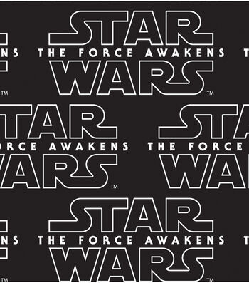 "Star Wars: The Force Awakens Cotton Fabric 44""-Black Logo"