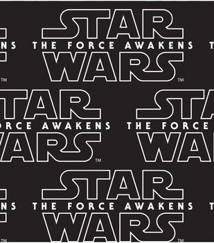 Star Wars: The Force Awakens Cotton Fabric -Black Logo