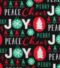 Holiday Showcase Christmas Cotton Fabric 43\u0027\u0027-Words on Black
