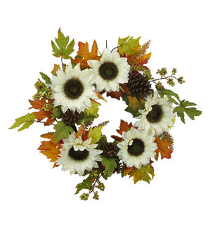 Blooming Autumn Berry, Pinecone, Leaf & Ivory Sunflower Wreath