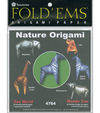 "Fold 'Ems Origami Paper 6""x6"" 24/Pkg-Zoo World"