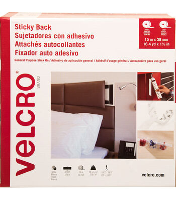 VELCRO Brand Sticky Back Hook & Loop Tape 38mmX15m-White