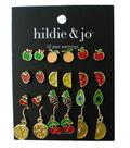 hildie & jo 12 Pair Multi Fruit Earrings-Gold